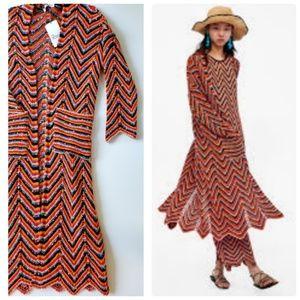 NWT Long Vibrant Linen Blend Multicolored Cardigan
